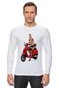 """Лонгслив """"Девушка на мотоцикле"""" - девушка, эротика, блондинка, мотоцикл"""