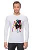 """Лонгслив """"Мопс-космос"""" - радуга, dog, pug, космос, собака, цветная, мопс, suit"""