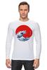 """Лонгслив """"Годзилла из волны"""" - япония, japan, ocean, годзилла, godzilla"""