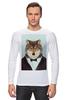 """Лонгслив """"Деловой волк"""" - бабочка, смокинг, волк, wolf, деловой"""