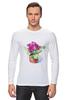 """Лонгслив """"цветы """" - арт, цветы, акварель, герань"""