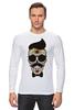 "Лонгслив ""Череп, усы и бабочка"" - skull, череп, арт, усы, hipster, mustache"