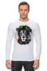 """Лонгслив """"Лев и роза"""" - лев, lion, царь зверей"""