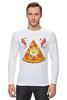 """Лонгслив """"Кусочек Пиццы (Pizza)"""" - пицца, pizza, колбаска, яичко"""