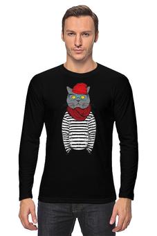 "Лонгслив ""Кот Хипстер"" - кот, арт, style, прикольные, очки, cat, хипстер, swag, hipster, shades"