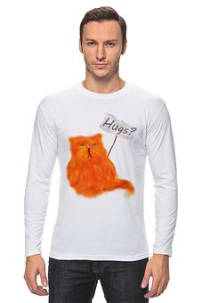 """Лонгслив """"Обнимашки?"""" - кот, cat, рыжий, обнимашки, hugs"""
