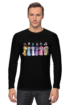 "Лонгслив ""My Little Pony Characters"" - rainbow dash, my little pony, applejack, friendship is magic, fluttershy"
