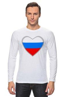 """Лонгслив """"Сердце-триколор и Россия это мы """" - любовь, 23 февраля, надписи, россия, триколор"""