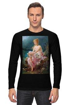 """Лонгслив """"Водяные лилии (картина Ханса Зацка)"""" - цветы, картина, живопись, зацка"""