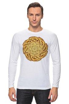 """Лонгслив """"Золотой цветок мандала"""" - цветы, узор, мандала, индийский, мехенди"""