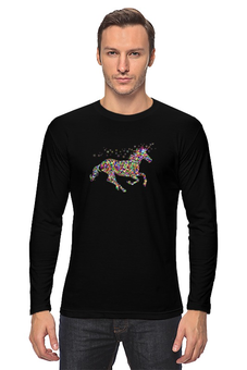 """Лонгслив """"единорог конь лошадь. """" - единорог, конь, лошадь, животное, фэнтэзи"""