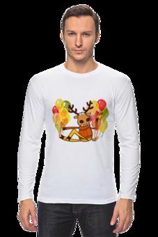 """Лонгслив """"Фуфайка """"Праздничный Олень"""""""" - праздник, футболка мужская, олень, фуфайка, подслушано"""