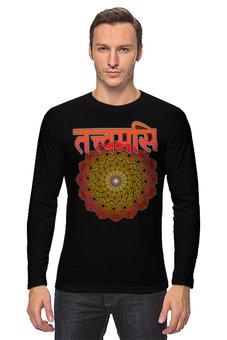 "Лонгслив ""Тат твам аси  на санскрите с мандалой"" - йога, надписи, мандала, индуизм, санскрит"