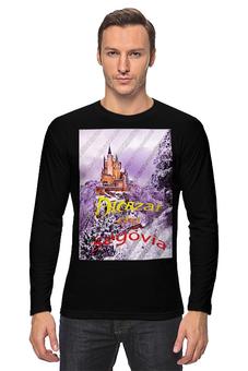 """Лонгслив """"Испанский замок Сеговия"""" - фиолетовый, испания, замок, полоски, крепость"""