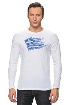 "Лонгслив ""Греческий флаг"" - флаг, символика, греческий, греция, greece"