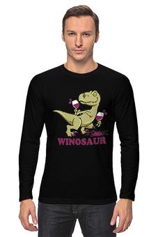 """Лонгслив """"Винозавр"""" - динозавры, динозавр, винозавр, вино, бокал"""