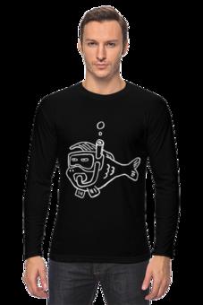 """Лонгслив """"Рыба моя (фуфайка, белым по черному)"""" - прикольно, арт, животные, море, рисунок, прикольные, рыба, животное, рыбка, океан"""