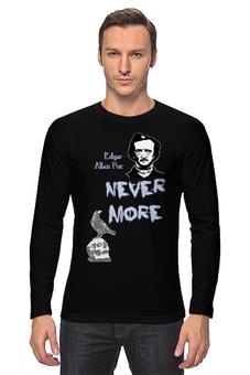 """Лонгслив """"Эдгар По, «Ворон» (Edgar Poe, The Raven)"""" - череп, ворон, nevermore, edgar allan poe, эдгар аллан по"""
