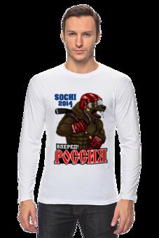 """Лонгслив """"Россия вперед  хоккей"""" - в подарок, яркая, крутая, хоккей, крутая футболка, дизайнерские футболки, стильные футболки, модные футболки 2013, модный футболки 2014, фирменные футболки"""