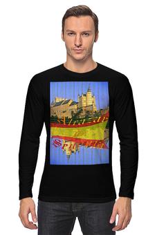 """Лонгслив """"Средневековой испанский замок Сеговия."""" - желтый, испания, замок, полоски, крепость"""