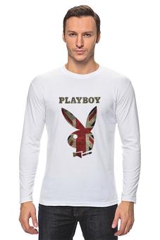"""Лонгслив """"Playboy Британский флаг"""" - playboy, плейбой, зайчик, великобритания, плэйбой"""