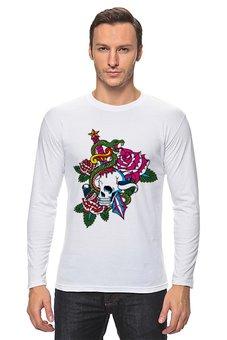 """Лонгслив """"Череп"""" - череп, роза, кинжал, змей"""