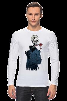"""Лонгслив """"Фриц-шкелет флиртует"""" - авторские майки, прикольные, оригинально, креативно, футболка мужская, рисунок, стиль"""