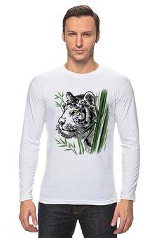 """Лонгслив """"Тайная угроза"""" - хищник, животные, рисунок, тигр, бамбук"""