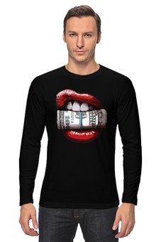 "Лонгслив ""Губы и доллары"" - деньги, губы, lips, доллары, dollars"