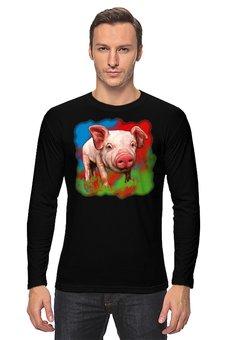 """Лонгслив """"Симпатичный свин"""" - свинка, свинья, хрюшка, поросёнок, хряк"""