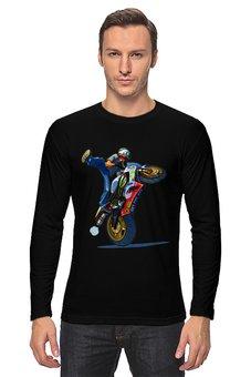 "Лонгслив ""Мотоциклист "" - спорт, мотоцикл, гонщик"