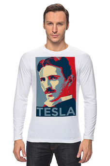"""Лонгслив """"Серия Тесла"""" - ученый, тесла, никола тесла, сербия"""