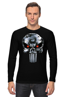 "Лонгслив ""Punisher Of The Future"" - череп, пародия, фантастика, терминатор, каратель"