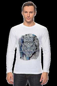 """Лонгслив """"Doodle Owl"""" - арт, птица, графика, сова, филин, иллюстрация, owl, ветка, перья, doodles"""