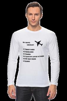 """Лонгслив """"Футболка с длинными рукавами My travel checklist"""" - стиль, популярные, рисунок, в подарок, оригинально, футболка мужская, самолет, отпуск, путешествия, travel"""
