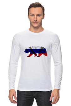"""Лонгслив """"Русский Медведь"""" - bear, медведь, русский, флаг, russian"""