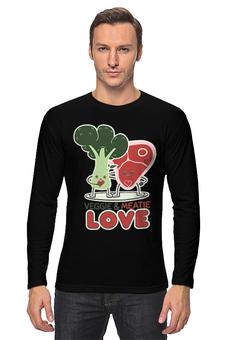 """Лонгслив """"Овощно-мясная любовь"""" - любовь, мясо, веган, вегетарианец, овощи"""