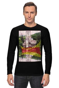"""Лонгслив """"Замки Испании. Замок Бутрон"""" - желтый, испания, замок, полоски, крепость"""