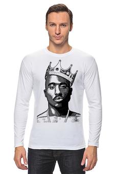 "Лонгслив ""2Pac - King Of Rap (Лонгслив Белый)"" - футболка мужская, 2pac, west coast, west side, outlawz, thug life, king of rap, death row"