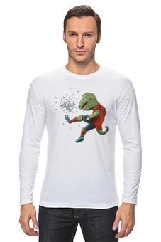 """Лонгслив """"Футбол"""" - зелёный крокодил играет в футбол птицей, птица вместо мяча, пинает птицу, крокодил-футболист, птица и уродец"""