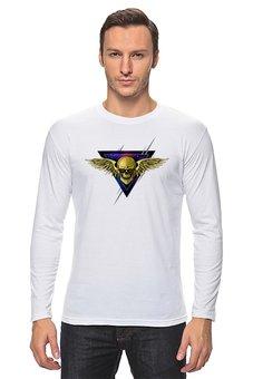 """Лонгслив """"Череп"""" - графика, космос, треугольник, крылья, череп"""