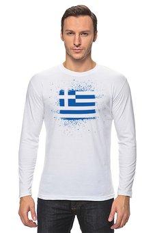 """Лонгслив """"Греческий флаг"""" - символика, греческий, греция, greece"""