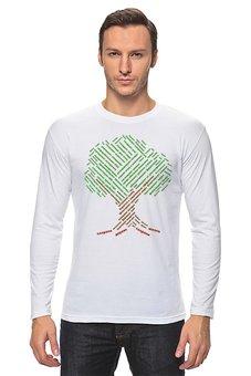 """Лонгслив """"Деревьям нужна помощь! """" - надписи, деревья, россия, природа, слова"""