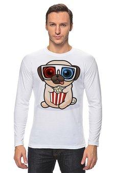 """Лонгслив """"Мопс в 3D-очках"""" - животные, собака, мопс"""