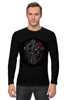 """Лонгслив """"rose&cross"""" - готика, роза, крест, в подарок, футболка мужская, креативно"""