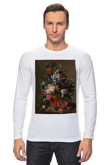 "Лонгслив ""Ваза с цветами (Ян ван Хёйсум)"" - цветы, картина, живопись, натюрморт, ян ван хёйсум"