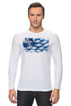 "Лонгслив ""Греческий флаг (винди)"" - флаг, символика, греческий, греция, greece"