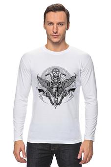 "Лонгслив ""Байкер"" - спорт, мотоцикл, байкер, череп"