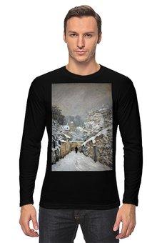 """Лонгслив """"Снег в Лувесьене (картина Альфреда Сислея)"""" - зима, картина, импрессионизм, живопись, сислей"""