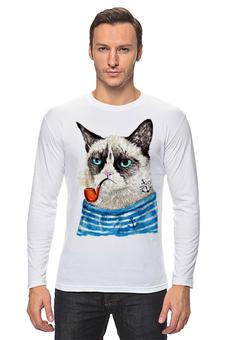 """Лонгслив """"Грустный Кот"""" - приколы, cat, котэ, трубка, grumpy, sailor, моряк"""